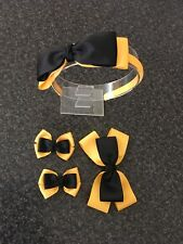EMMA Wiggle Bows  Hair Clips & Headband Set As Pictured .with Grosgrain Ribbons
