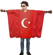 Unisex Turkish Flag Poncho World Cup Football One Size Cricket Fan Costume