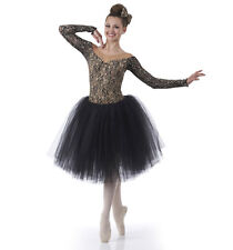 Child Extra Large Romantic Ballet Tutu Dance Costume Gold & Black