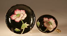 Black Three Footed Cup and Saucer with Pink Peonies, Made In Japan