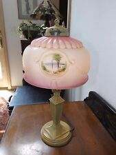 Antique 1940s Hand Painted Satin Glass Shade Boudoir Table or Desk Lamp GORGEOUS