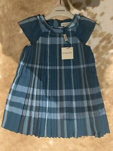BURBERRY nwt Girls Sz4 Teal Green DESIGNER AUTHENTIC Pleated Dress AUD RRP$330