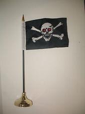 """Jolly Roger Red Eye Pirate Skull Flag 4""""x6"""" Desk Set Table Stick Gold Base"""