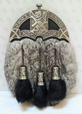Brand New Sporran With Grey Rabbit Fur Lion Celtic Design (Free Belt Included)