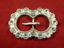 ANTIQUE DIAMANTE & SILVER PLATED PRESSED METAL SMALL BELT/SASH BUCKLE c1880