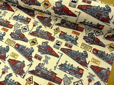 PRINTED COTTON  FABRIC +++  TRAINS