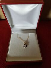 """14KT Yellow Gold Diamond And Natural Sapphire Pendant With 18"""" Chain"""