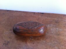 LOVELY DECORATIVE ANTIQUE CARVED WOODEN OVAL SNUFF ? BOX 4.5 by 2.2 inches a/f
