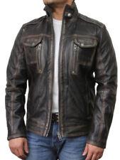 Manteaux et vestes motards marrons en cuir pour homme
