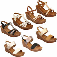 Ladies Wedge Sandals Womens Strappy Open Toe Shoes Party Fashion Buckle Summer