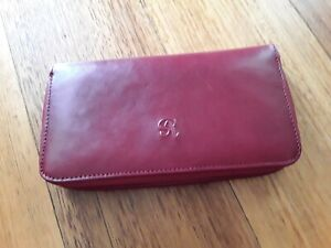 Via Sorte byTony Perotti women wallet leather red zip around credit cards coin
