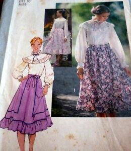 *LOVELY VTG 1970s BLOUSE & SKIRT Sewing Pattern 10/32.5
