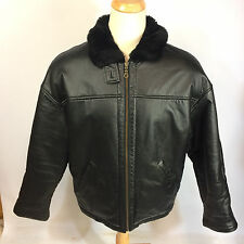 Wilsons Black Leather B Bomber Flight Aviator Coat Jacket Mens Medium VTG Style