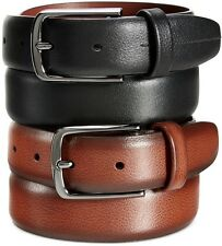 $99 PERRY ELLIS Men BROWN LEATHER CASUAL SILVER BUCKLE DRESS STRAP BELT SIZE 48