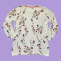 Womens Next Cream Floral Thin Knit Jumper Size 12 Flowers Leaf 3/4 Length Sleeve
