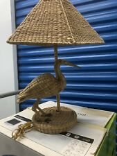 Vintage Mario Lopez Torres Wicker Rattan Bird / Stork Tabletop