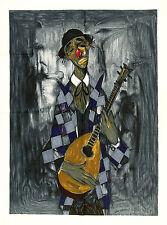 BERNARD LIGNON Vtg c1950s Corot, French Serigraph Tapestry LE CLOWN KILLY, Kelly
