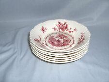 6 Vintage Dessert Bowls Masons Ironstone China Pink Watteau England Gadroon NICE
