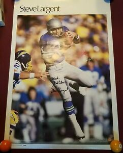1980's Steve Largent Seattle Seahawks Sports Illustrated Poster Signed