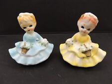 2 Southern Belle Candle Huggers Ruffled Dresses Baskets Vintage Japan