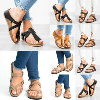 Womens Ladies Slide T-Strap Flat Sandals Cork Footbed Platform Flip Flops Shoes