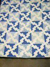 Vintage Handmade Drunkard's Path Design Quilt - c 1940  Blue and White