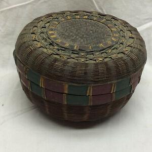 Vintage Sewing Basket Weaved With Lid Ornate Design