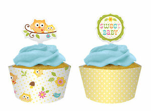 12 x Christening Baby Shower Owl Cupcake Wrappers & Picks CHEAP CLEARANCE SALE