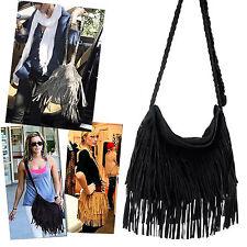 New Black Celebrity Fringe Tassel Shoulder Messenger Bag Handbag