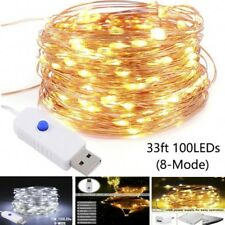USB 10M/100LED String Copper Wire Fairy Lights Xmas Party Fairy Decor Warm white