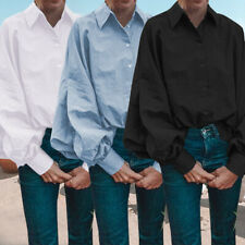 AU 8-26 Women Casual Collared Button Down Dress Shirt Tee Top Long Sleeve Blouse