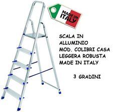 SCALA IN ALLUMINIO SGABELLO COLIBRI CASA 3 GRADINI SUPER LEGGERA ROBUSTA ITALY