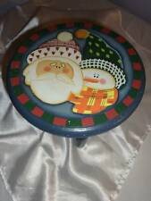 """Holiday Christmas Wooden Wood Decorative Doll Table Stool 7"""" Blue"""