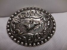 RODEO BULL RIDER  BELT BUCKLE  SILVER T FLORAL  L18