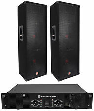 "(2) Rockville RSG12.2 Dual 12"" 2000W PA Speakers+Rockville RPA9 Amplifier DJ Amp"