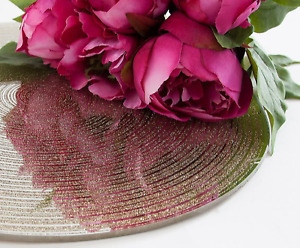 ROUND 30 CM GLITTER SWIRL MIRROR PLATES SILVER/GOLD WEDDING TABLE CENTREPIECES