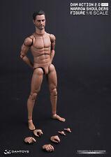 DAM TOYS 2.0 1/6th Man Action Figure Head Set Doll Narrow Shoulder Body MALE01