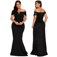 Plus Size Sheer Short Sleeve Maxi Long Formal Gown Cocktail Evening Party Dress