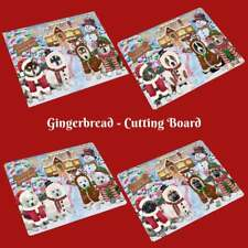 Christmas Gingerbread Cookie Dog Cat Pet Photo Tempered Glass Cutting Board Gift