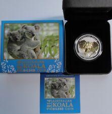 Original 2014 Australia KOALA 1 oz .999 Silver GILDED with BOX+COA