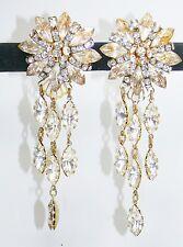 Dangle Earrings Design by SD made with Swarovski Crystal Goldtone Bridal Wedding