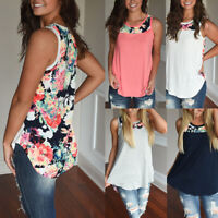 Casual Women T-shirt Sleeveless Printed Patchwork Shirt?Loose Women Clothes Top