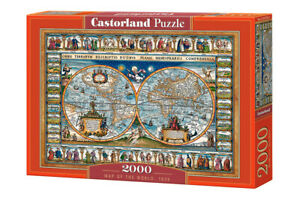 "NEW Castorland Jigsaw Puzzle 2000 Pieces Tiles ""Map of the world, 1639"""