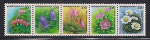 Korea 1987 Sc #1490 Flowers Strip of 5 MNH (2-2646)