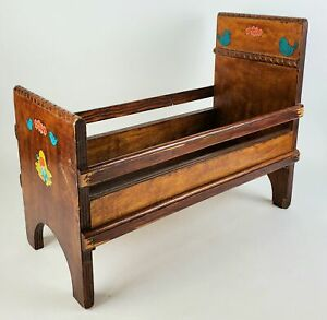 Vintage Wood Doll Bed w/ Original Decals Baby Nursery Toy Antique Old Wooden