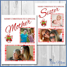 1 X PERSONALISED PHOTO  CHRISTMAS XMAS CARD MOTHER SISTER DAUGHTER FRIEND AUNT
