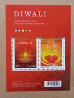 2017 CANADA JINT ISSUE INDIA DIWALI STAMP SHEETLET 2 STAMPS