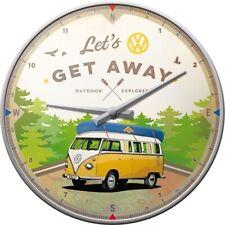 VW Volkswagen Away Nostalgie Wanduhr Glas 31cm Wall Clock