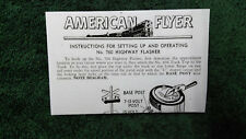 AMERICAN FLYER M2648 # 760 HIGHWAY FLASHER INSTRUCTIONS PHOTOCOPY