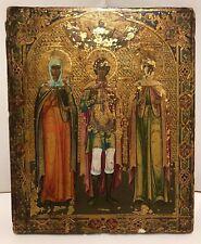 """Antike russische Ikone Icon """"Drei Heilige"""" 19. Jhd."""